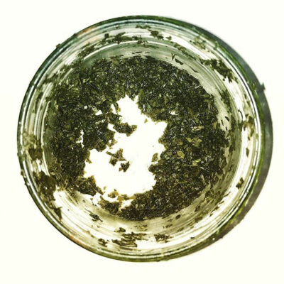 one-year old salted parsley in a glass jar